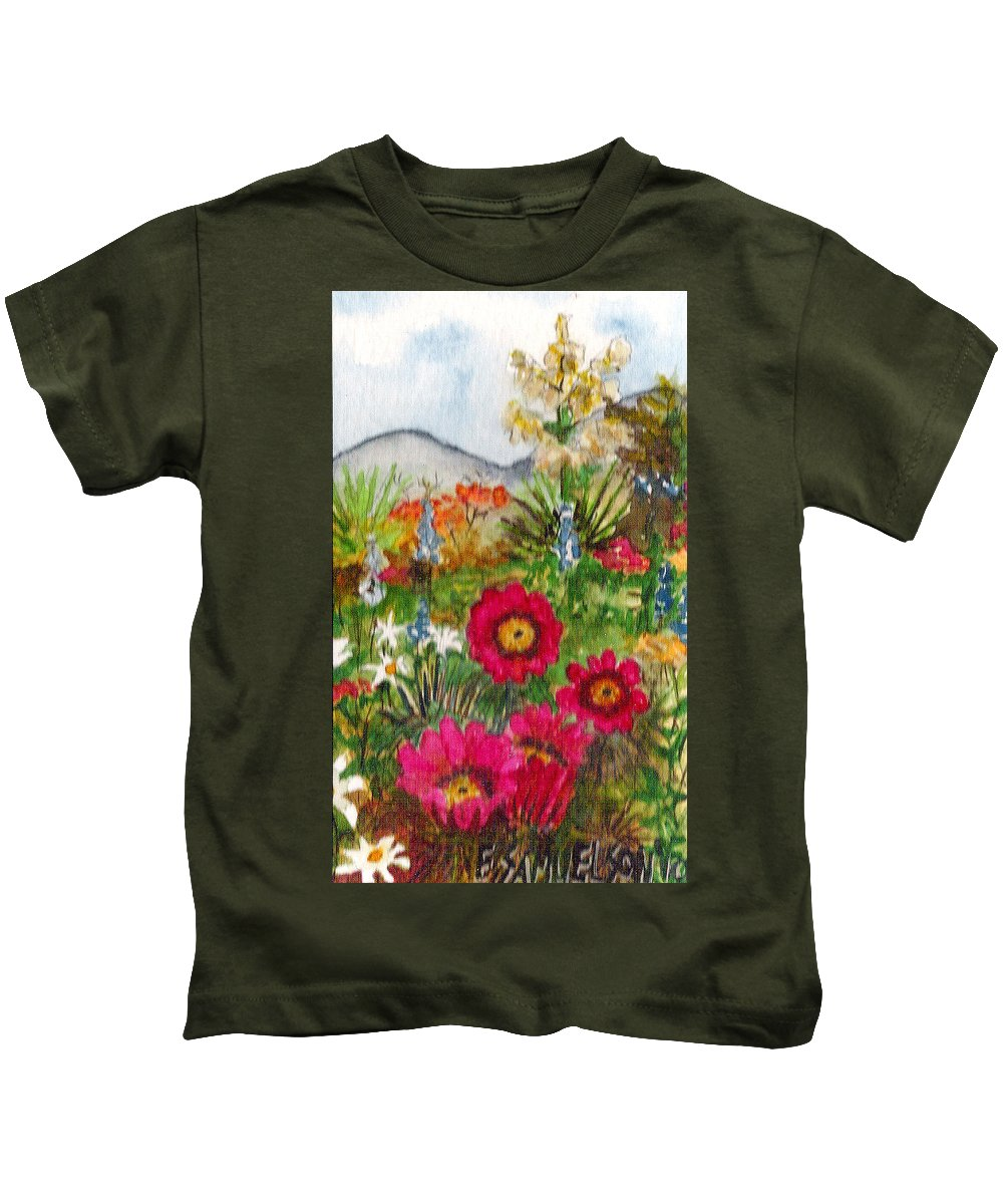 Spring Flowers Kids T-Shirt featuring the painting Desert Spring by Eric Samuelson