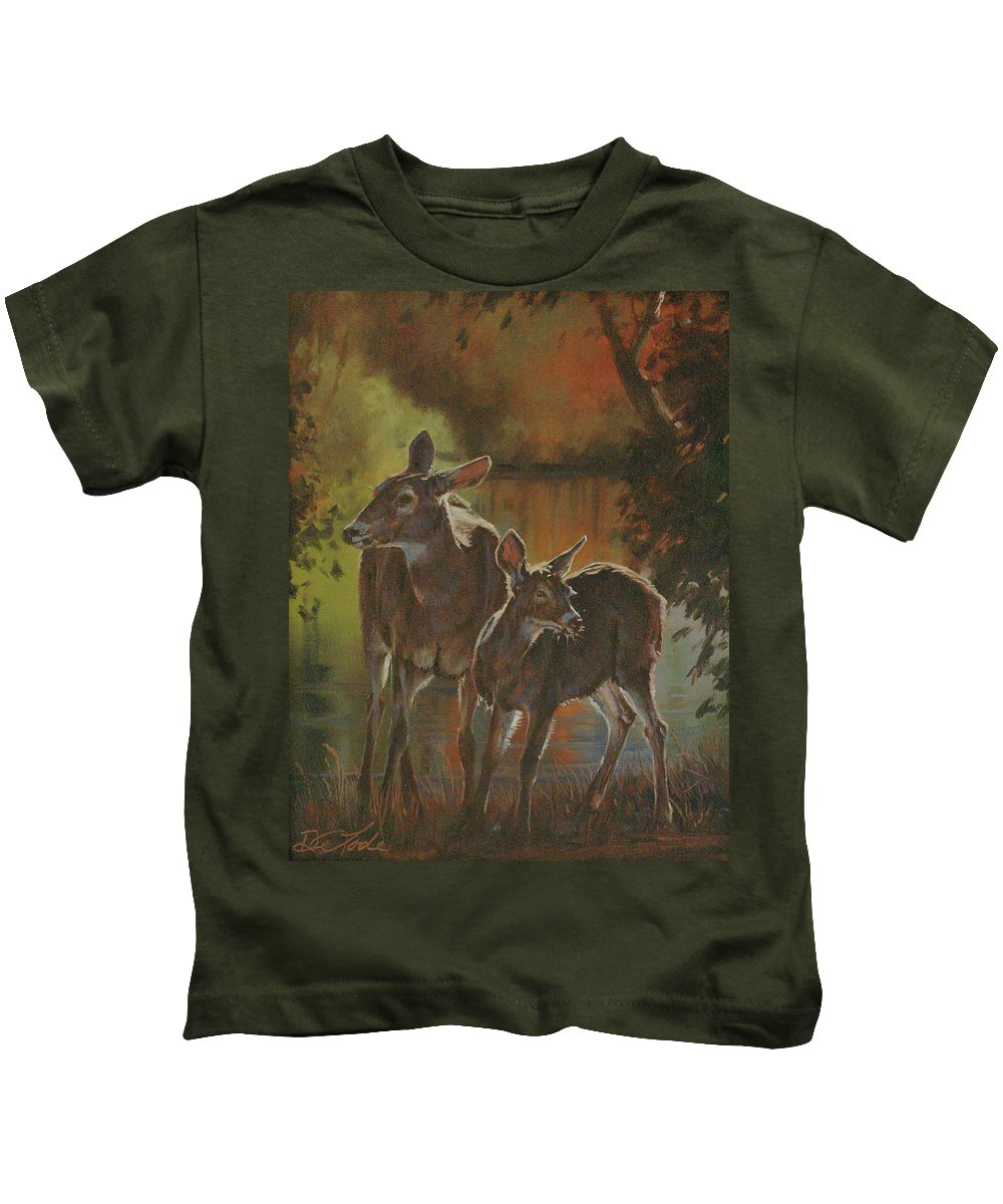 Deer Kids T-Shirt featuring the painting Did You Hear That by Mia DeLode