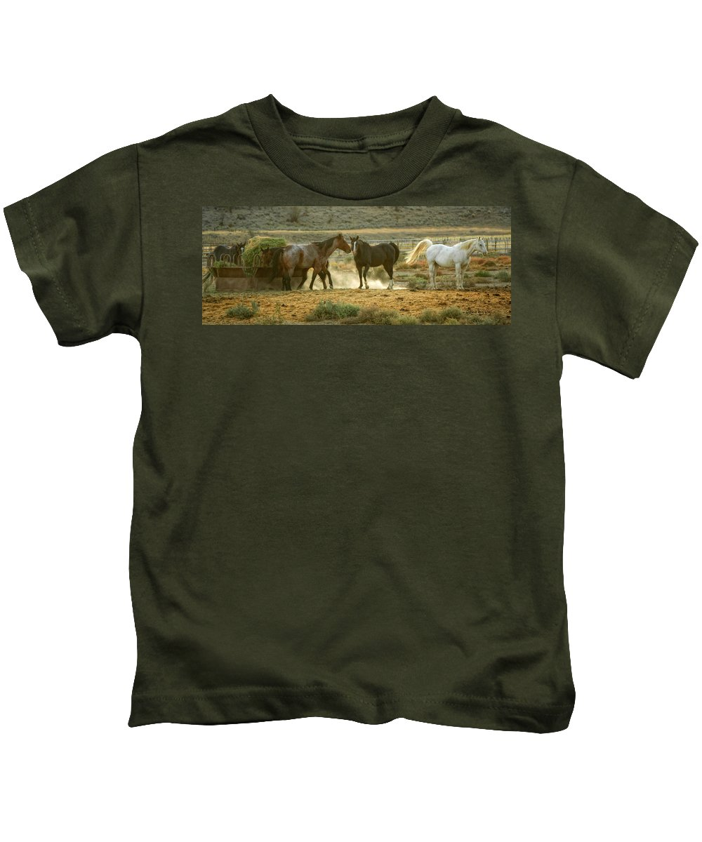 Horses Kids T-Shirt featuring the photograph Dinner Time by Donna Blackhall