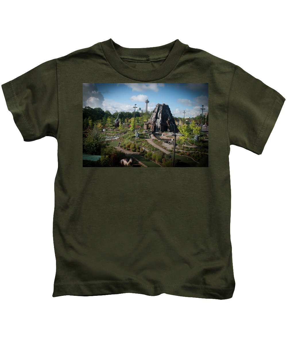 Autumn Tour Kids T-Shirt featuring the photograph Dinosaurs by Kenny Kunzman