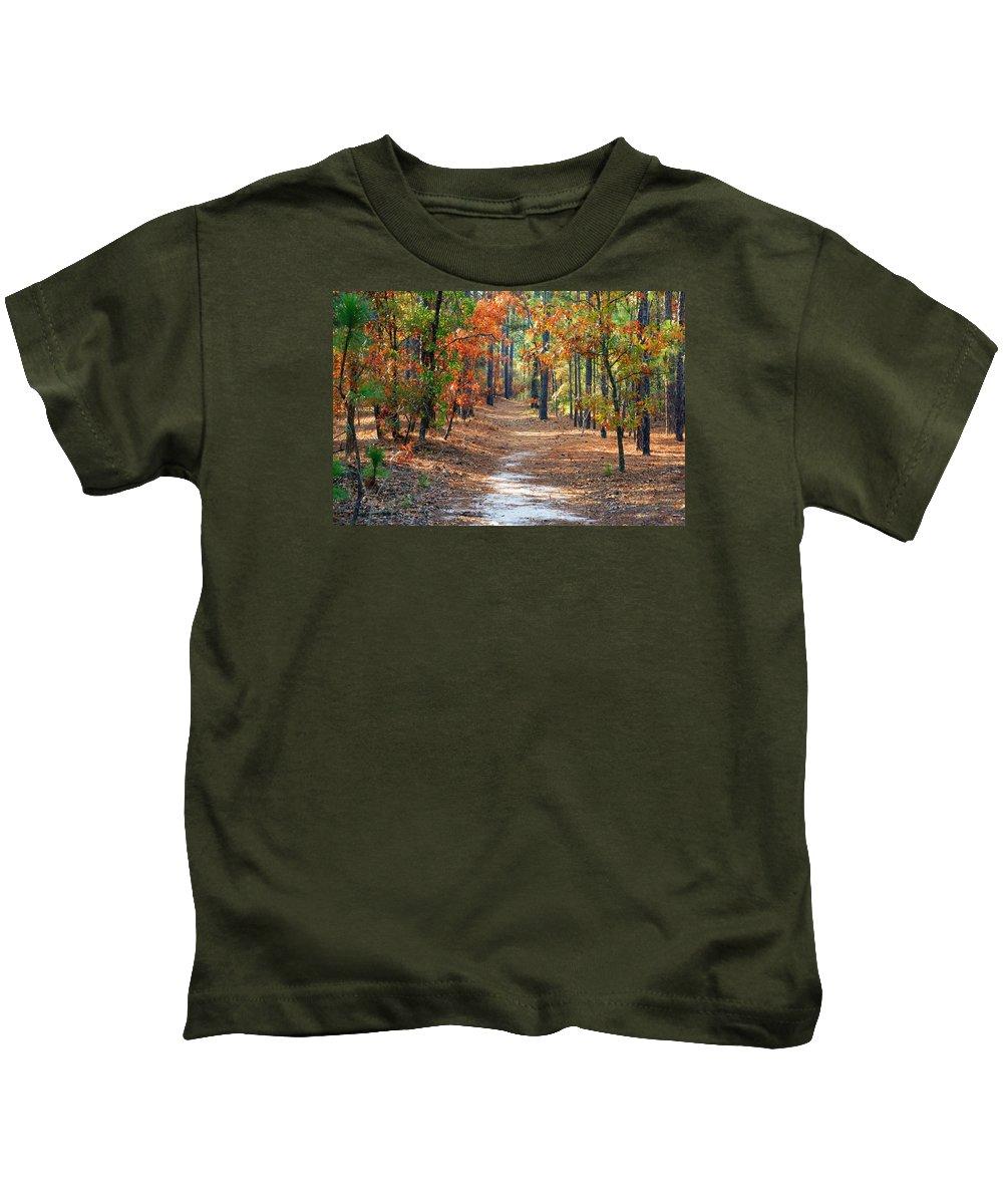 Autumn Scene Kids T-Shirt featuring the photograph Autumn Scene Dirt Road by Joseph C Hinson Photography