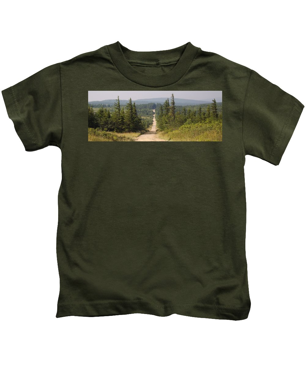 Dirt Road Dolly Sods West Virginia Appalachian Mountain Landscape Images Photgraph Prints Nature Great Outdoors Wilderness Wind Blown Pine Trees Blue Ridge Mountain Prints Kids T-Shirt featuring the photograph Dirt Road To Dolly Sods by Joshua Bales