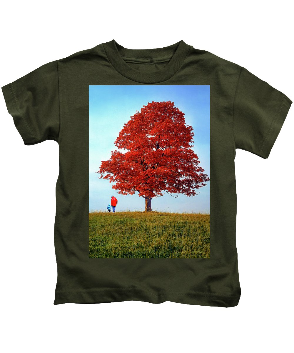 Sugar Maple Kids T-Shirt featuring the photograph Discovering Autumn by Steve Harrington