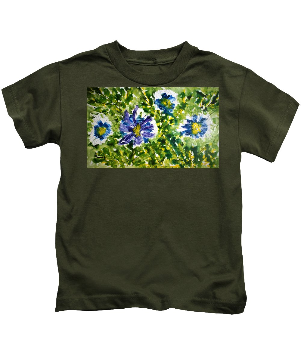 Flowers Kids T-Shirt featuring the painting Divine Blooms-21165 by Baljit Chadha
