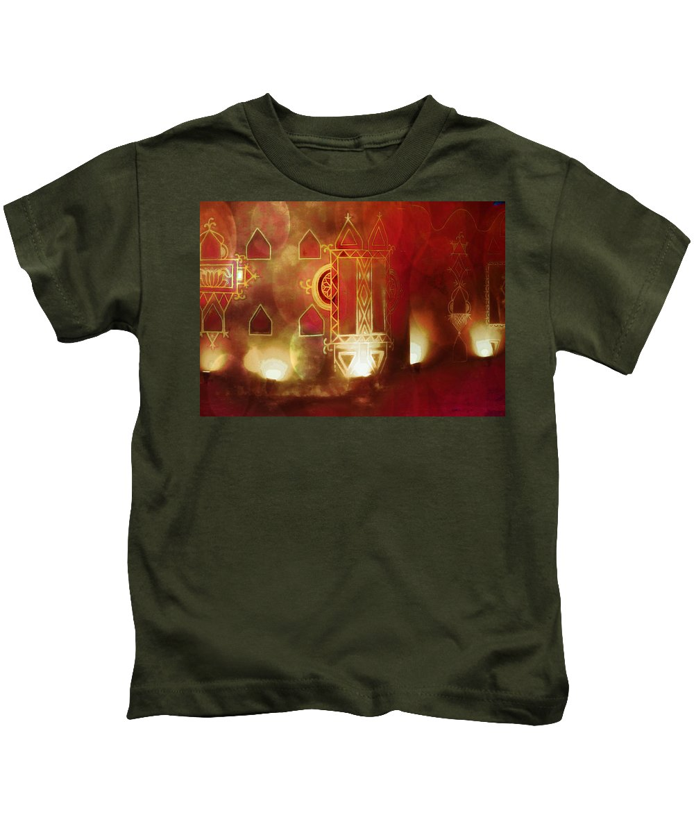 Diwali Card Kids T-Shirt featuring the photograph Diwali Card Lamps And Murals Blue City India Rajasthan 2g by Sue Jacobi