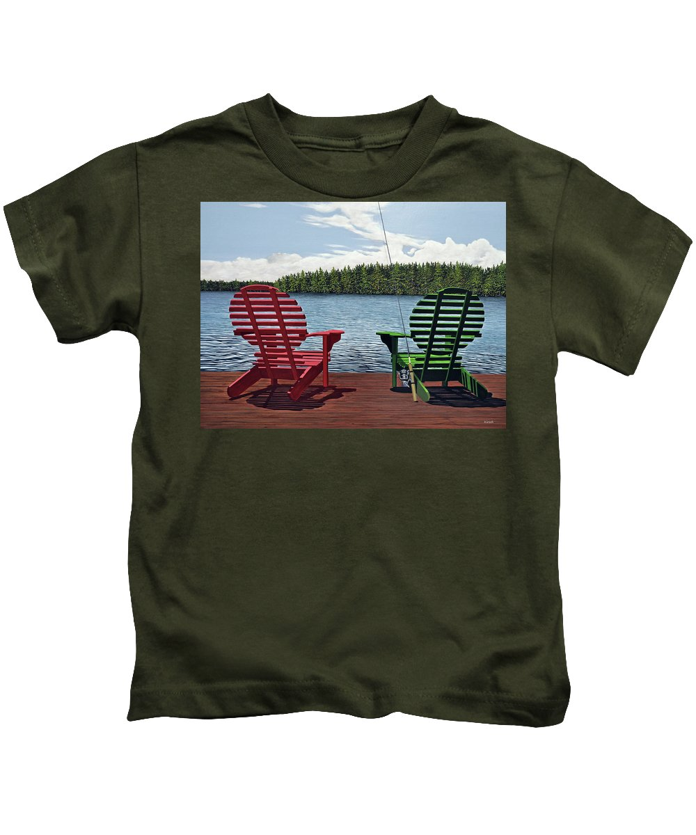 Landscapes Kids T-Shirt featuring the painting Dockside by Kenneth M Kirsch