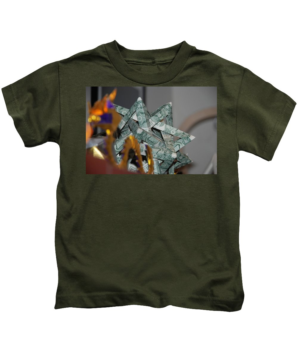 Dollars Kids T-Shirt featuring the photograph Dollar Origami by Rob Hans
