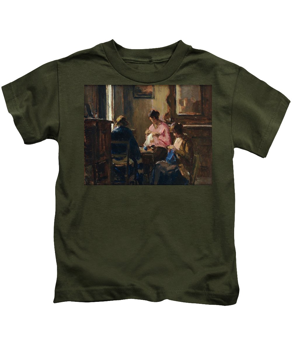 Ludovico Tommasi (livorno 1866 - Firenze 1941) Kids T-Shirt featuring the painting Donne Che Cuciono by Ludovico Tommasi