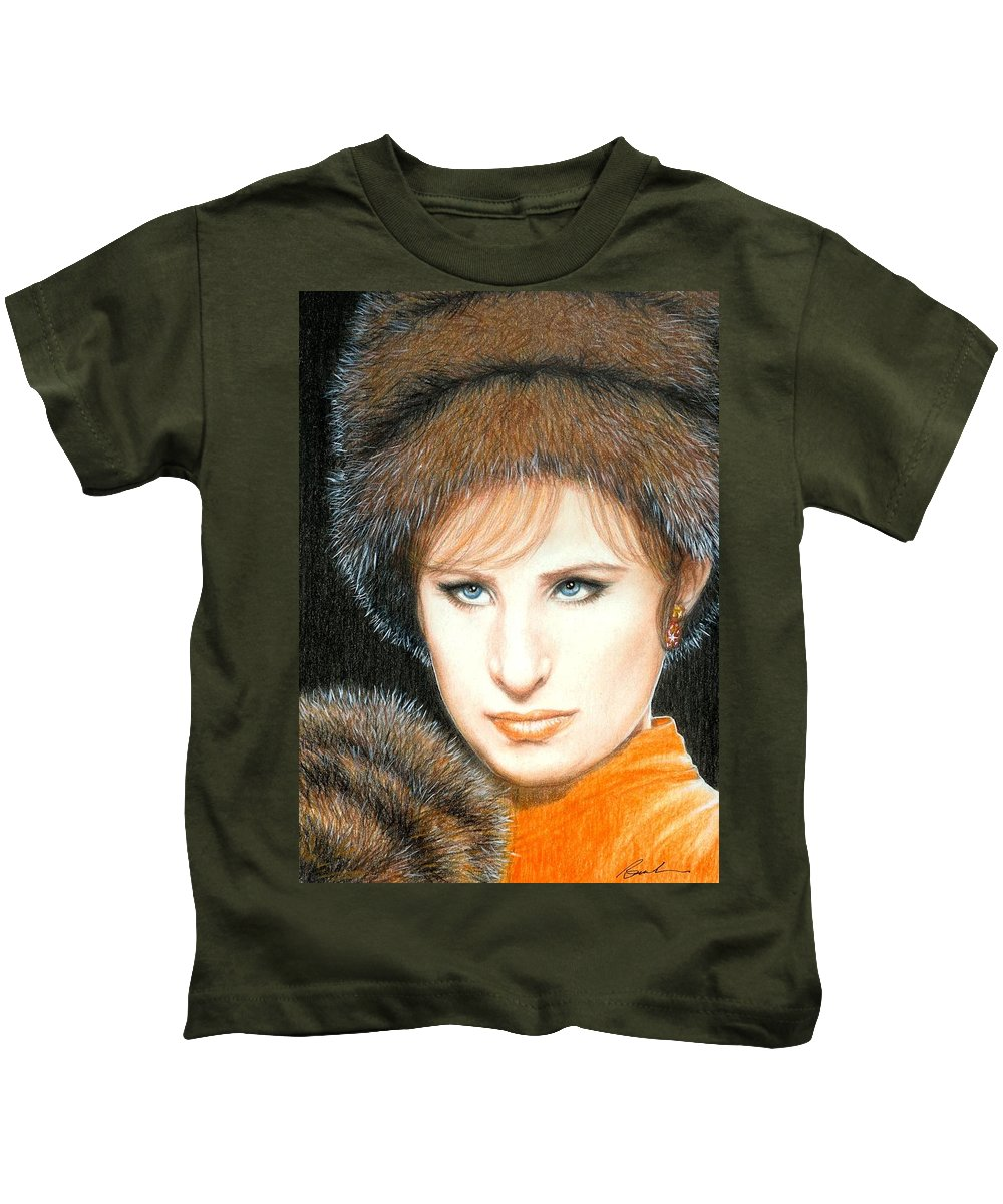 Barbra Streisand Funny Girl Bruce Lennon Art Kids T-Shirt featuring the painting Don't Rain On My Parade by Bruce Lennon