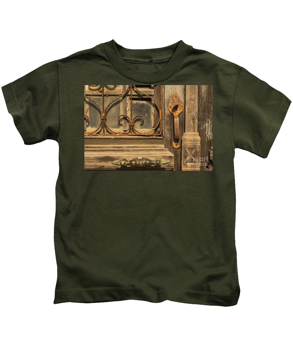 Zeytinli Kids T-Shirt featuring the photograph Door Handle by Bob Phillips