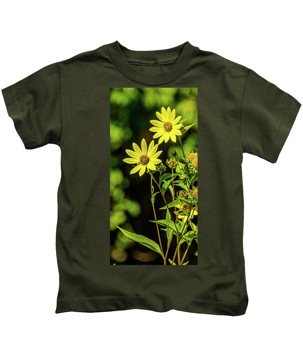 Flowers Kids T-Shirt featuring the photograph Double Yellow by Jerry Cahill