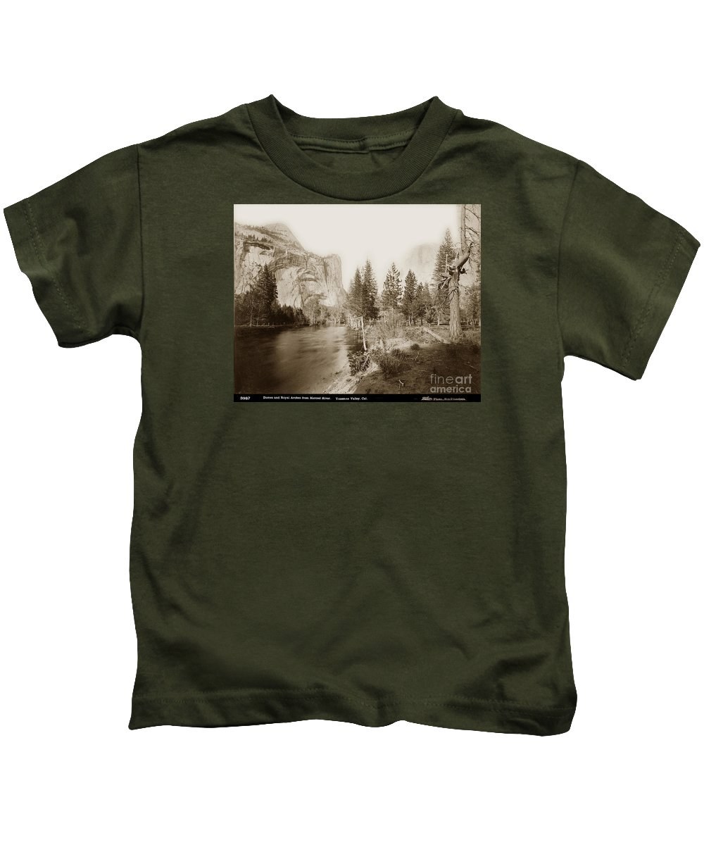 Domes And Royal Kids T-Shirt featuring the photograph Domes And Royal Arches From Merced River Yosemite Valley Calif. Circa 1890 by California Views Archives Mr Pat Hathaway Archives
