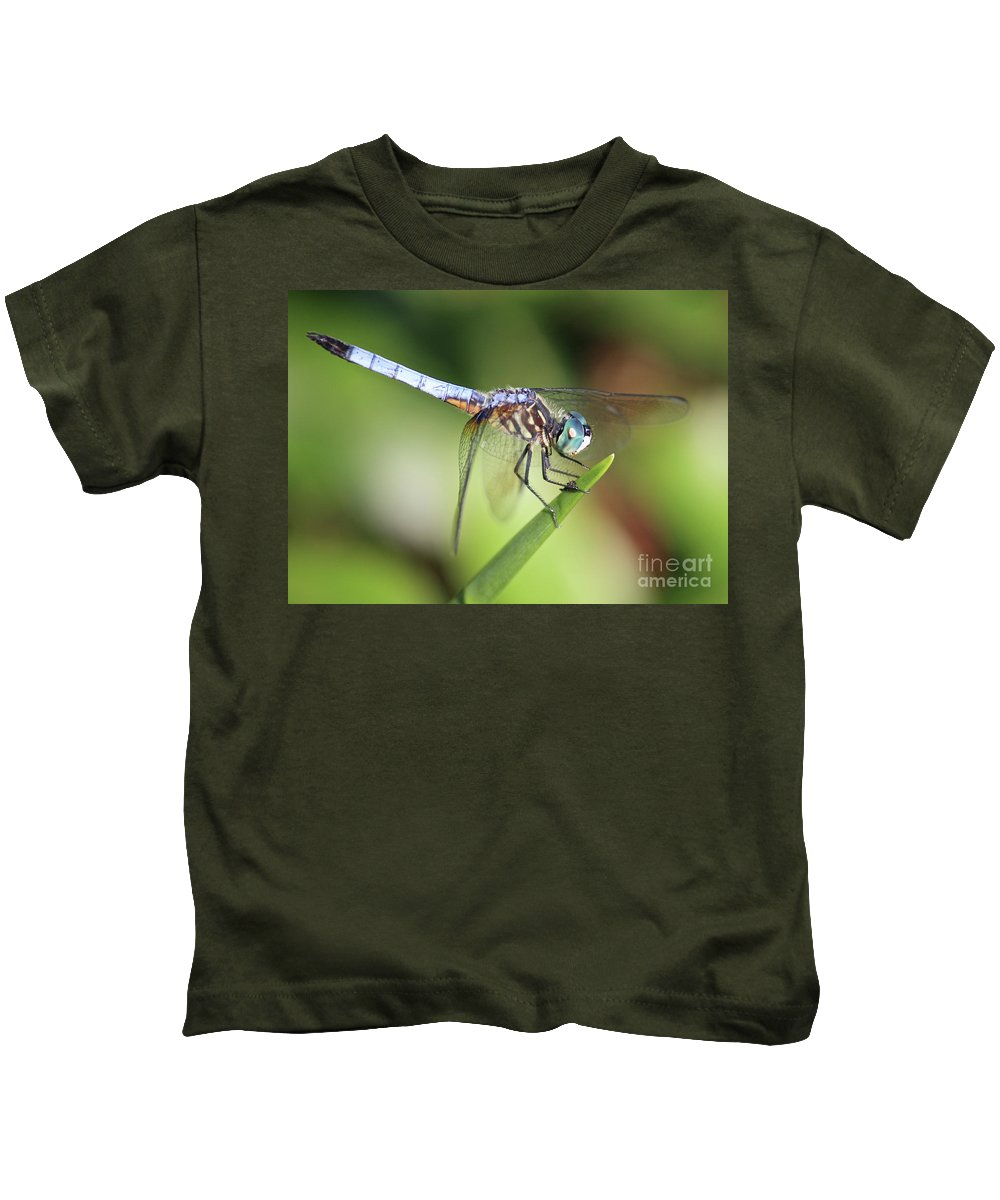 Dragonfly Kids T-Shirt featuring the photograph Dragonfly Captures Tiny Cockroach by Carol Groenen