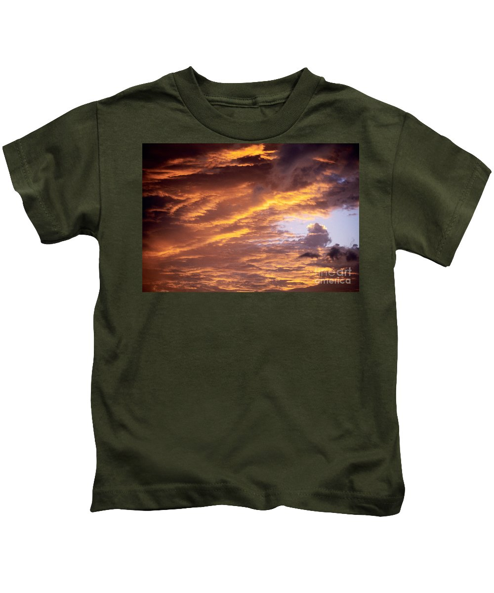 Afternoon Kids T-Shirt featuring the photograph Dramatic Orange Sunset by Carl Shaneff - Printscapes