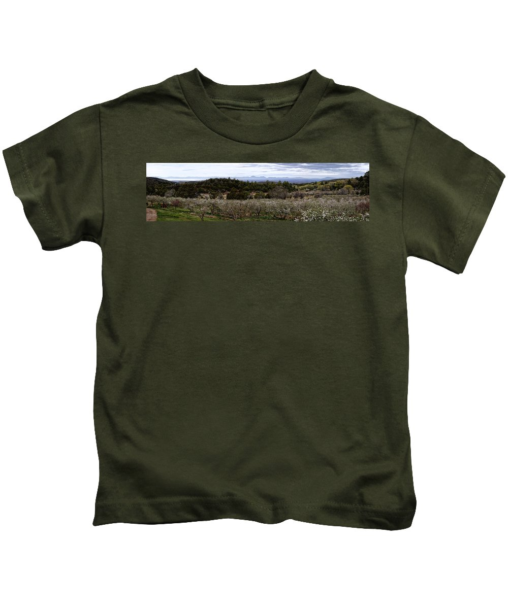 Kids T-Shirt featuring the photograph Draney Orchard Pano by Diana Powell