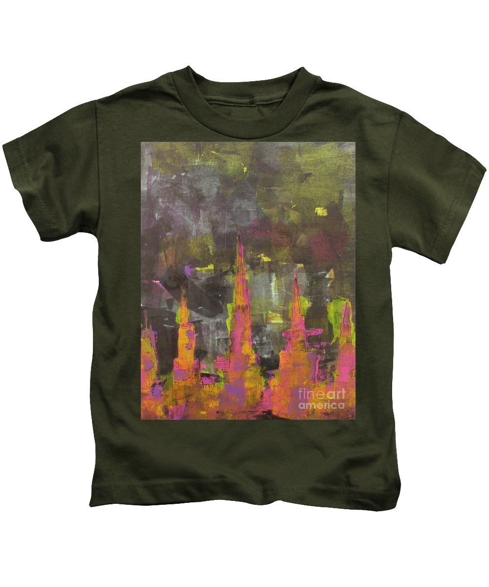 Abstract Kids T-Shirt featuring the painting Dream Catcher by Pinar Akbaba