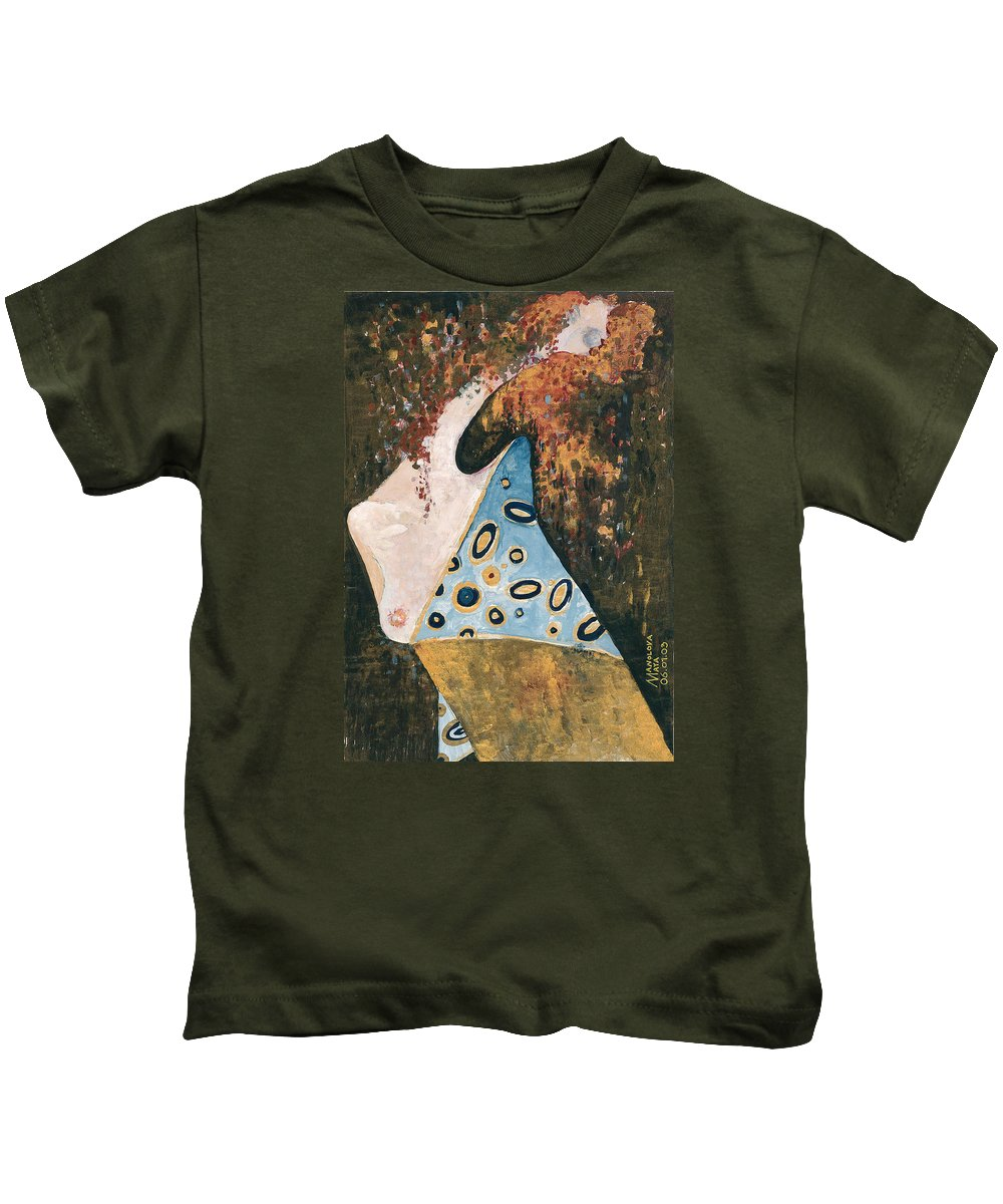 Kids T-Shirt featuring the painting Dreaming by Maya Manolova