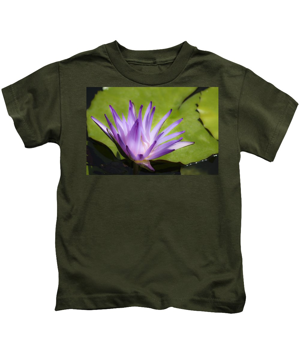 Purple Kids T-Shirt featuring the photograph Dreamy Purple Water Lilly by Teresa Mucha