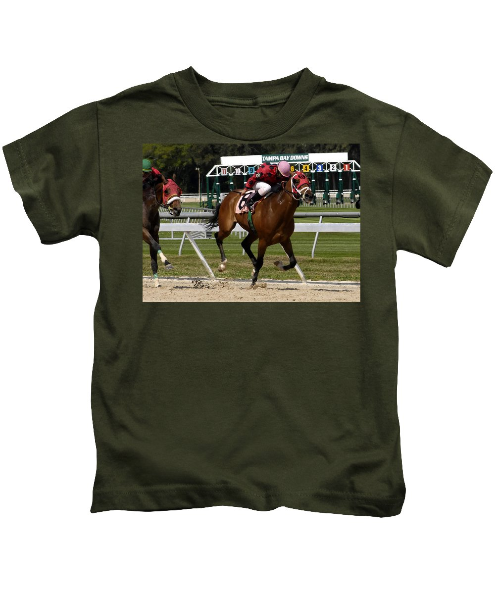 Horse Racing Kids T-Shirt featuring the photograph Drive by David Lee Thompson