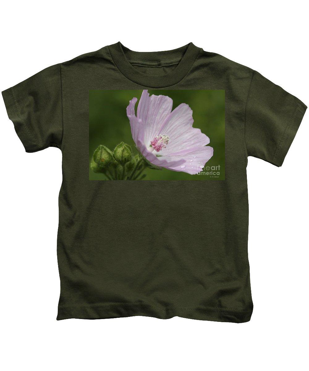 Flower Kids T-Shirt featuring the photograph Drops Of Dew by Deborah Benoit