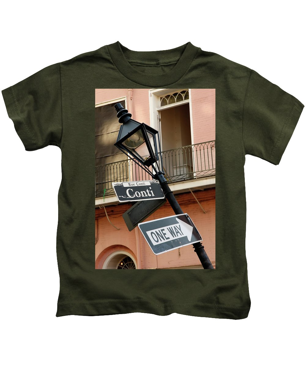 New Orleans Kids T-Shirt featuring the photograph Drunk Street Sign French Quarter by KG Thienemann