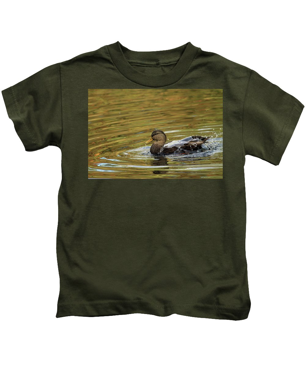 Duck Kids T-Shirt featuring the photograph Duck Dip by Karol Livote