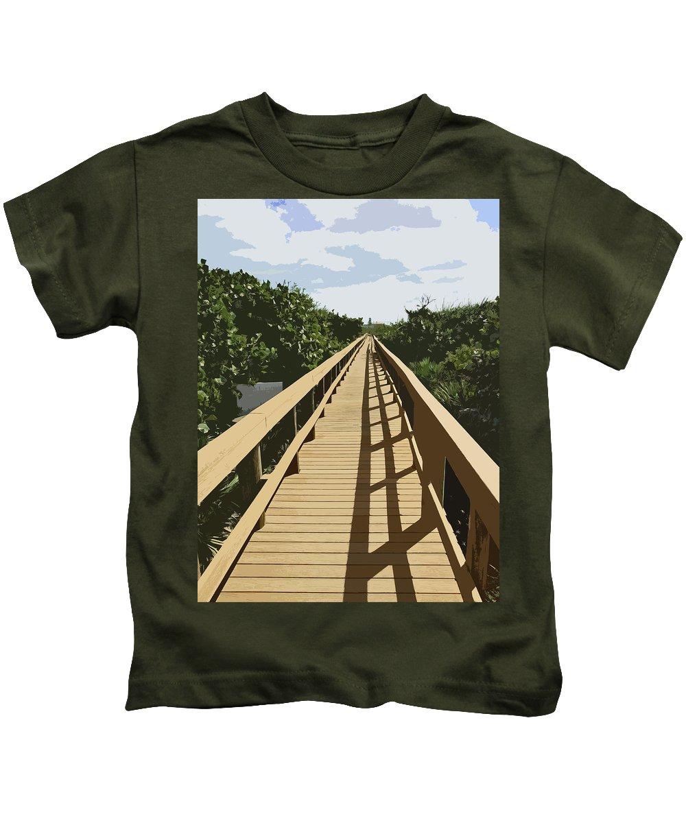 Walk Kids T-Shirt featuring the painting Dune Walk by Allan Hughes