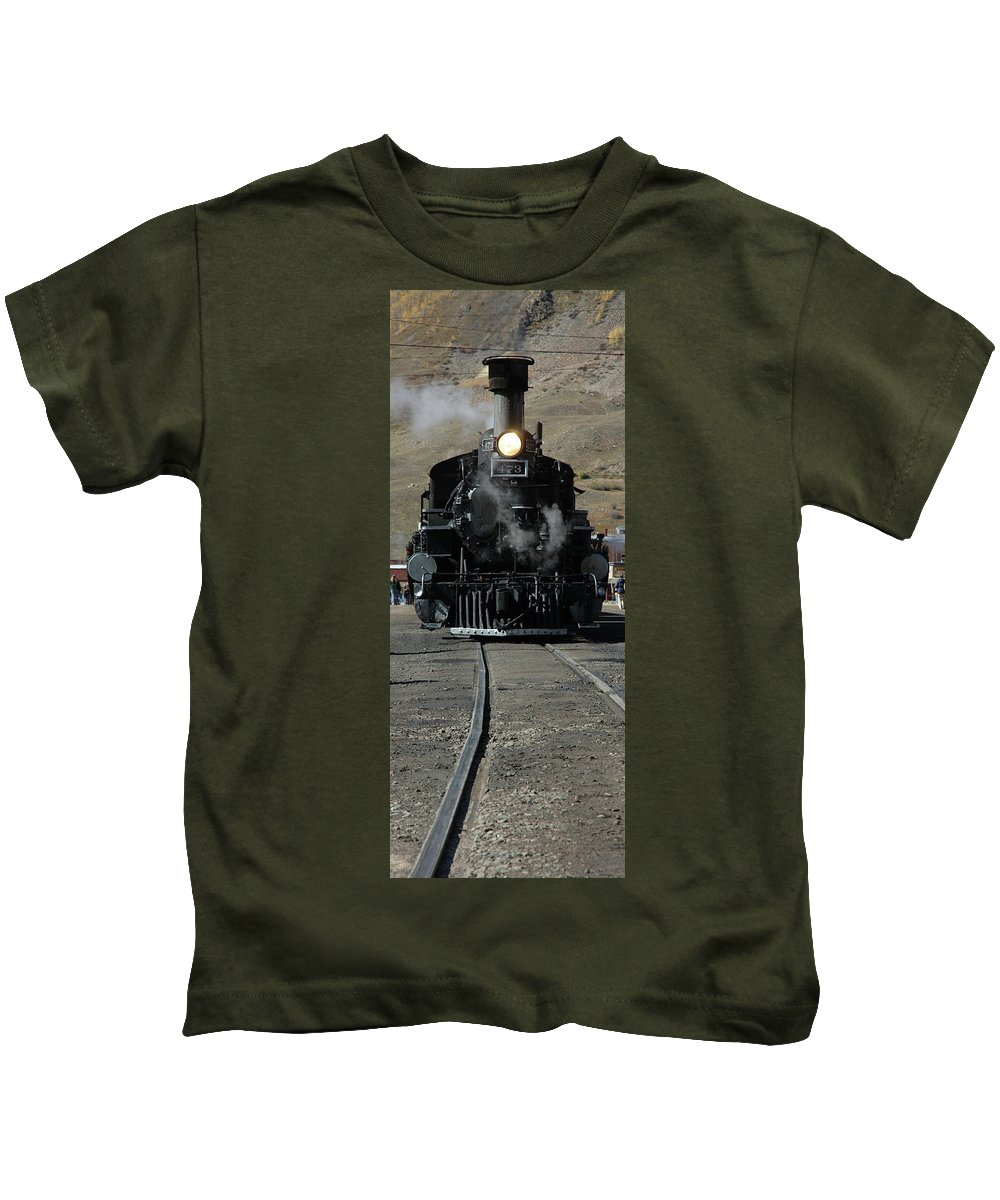 Steam Kids T-Shirt featuring the photograph Durango Silverton Narrow Guage by Jerry McElroy