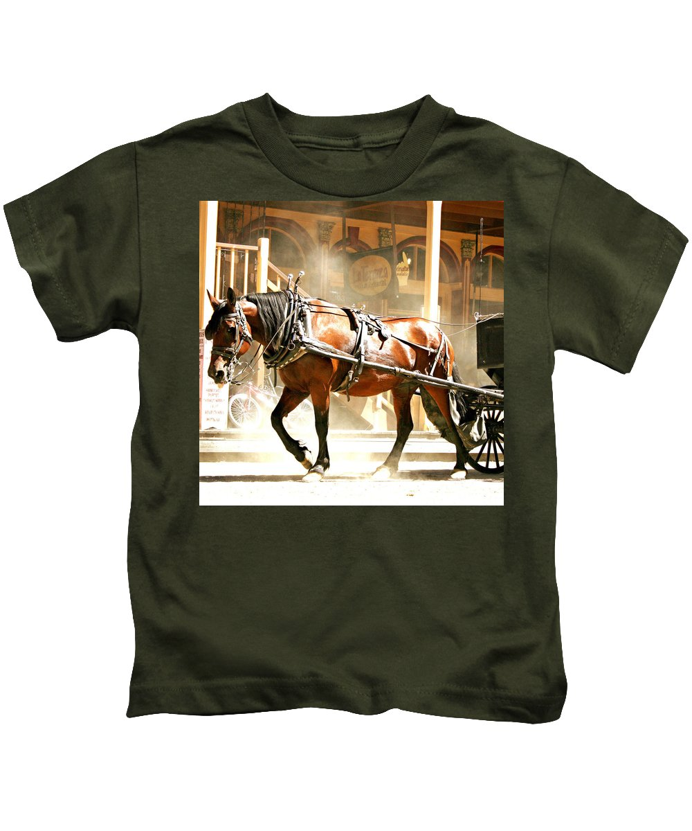 Gold Rush Days Kids T-Shirt featuring the photograph Dusty Horse by Sally Bauer