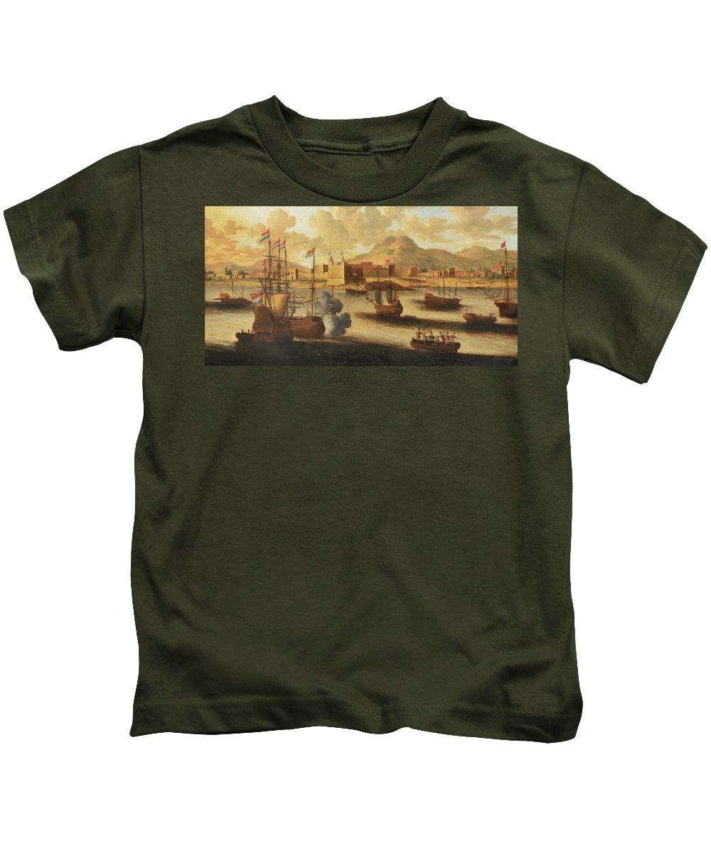 Pieter Van Den Velde (antwerp 1634 - After 1687 Antwerp) Dutch And English Warships Kids T-Shirt featuring the painting Dutch And English Warships by Pieter