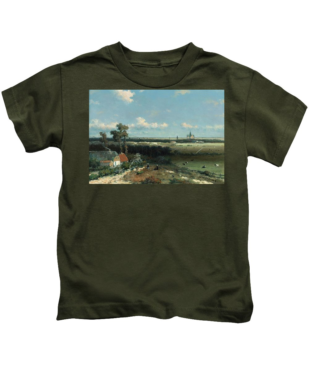 Jan Hendrik Weissenbruch Kids T-Shirt featuring the painting Dutch Landscape by MotionAge Designs