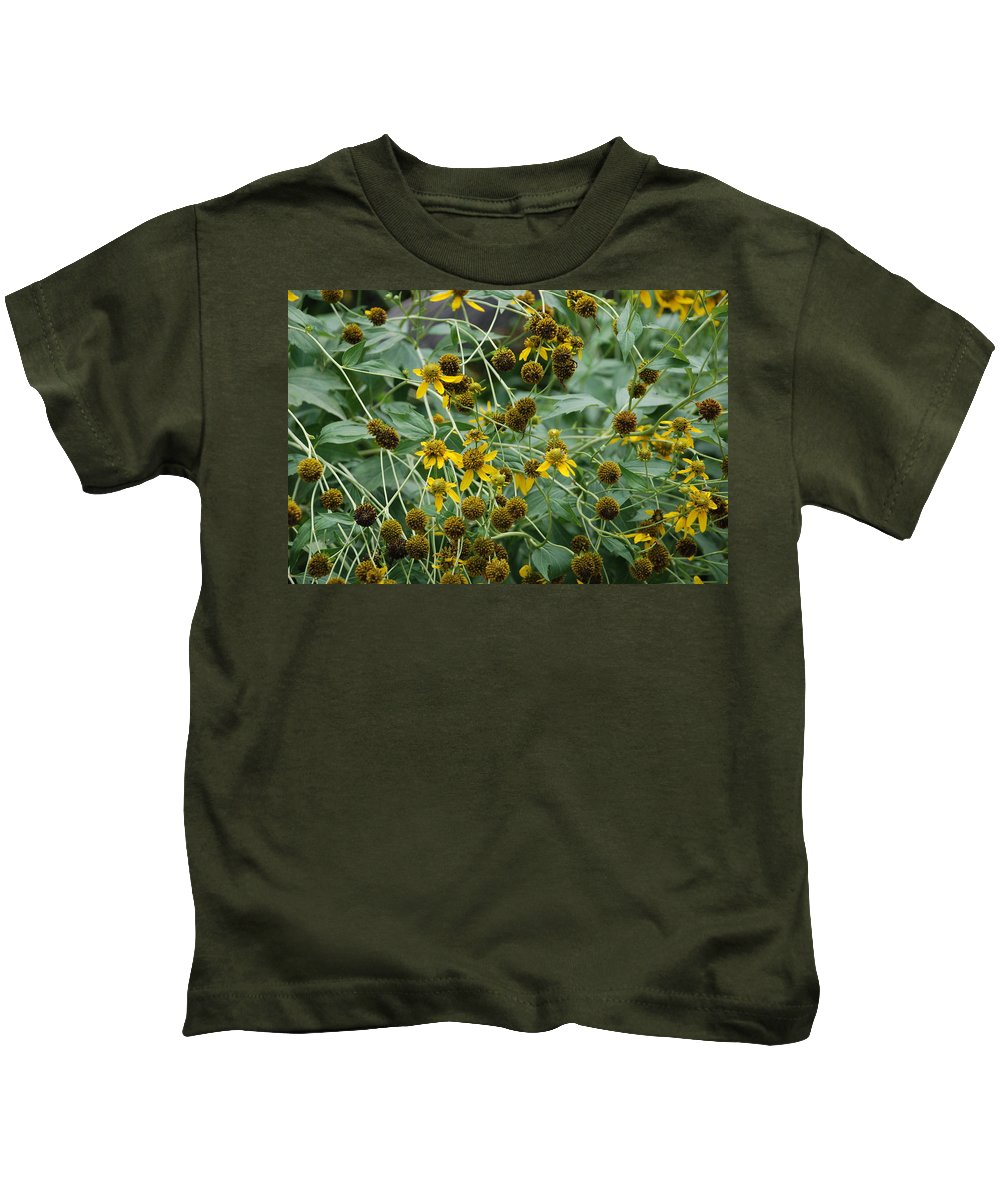 Macro Kids T-Shirt featuring the photograph Dying Sun Flowers by Rob Hans
