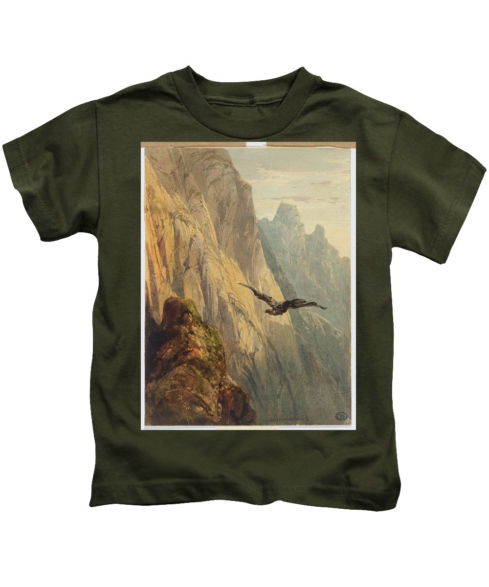 Alexandre Calame (arabie - Menton) Eagle Circling Before A Cliff Face Kids T-Shirt featuring the painting Eagle Circling Before A Cliff Face by Alexandre