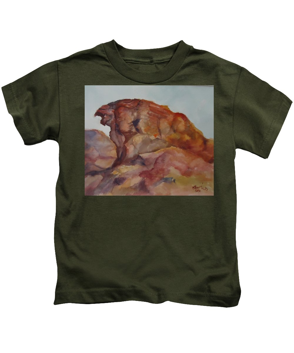 Valley Of Fire Kids T-Shirt featuring the painting Eagle Rock In Valley Of Fire by Charme Curtin