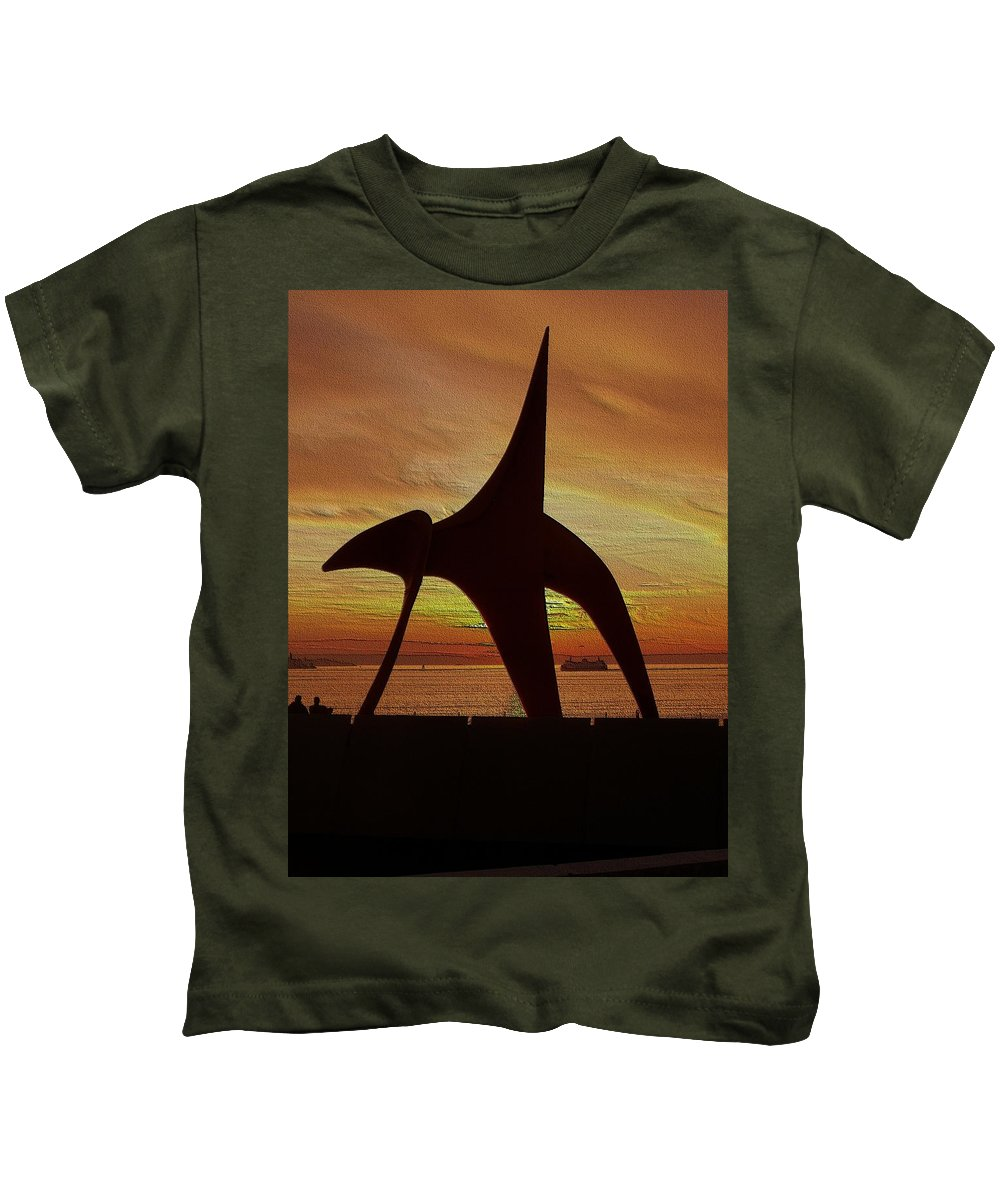 Seattle Kids T-Shirt featuring the digital art Eagle Sunset Over Elliott Bay by Tim Allen