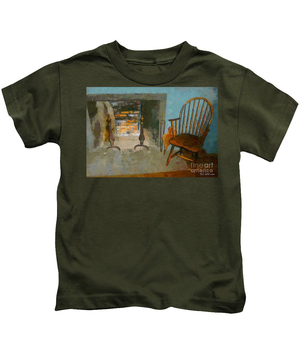 Americana Kids T-Shirt featuring the painting Early American Contemporary by RC DeWinter