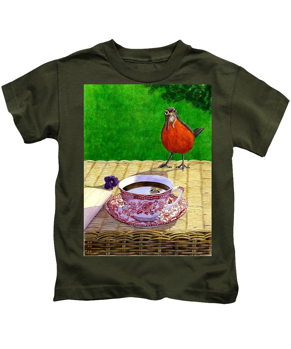 Robin Kids T-Shirt featuring the painting Early Bird by Catherine G McElroy