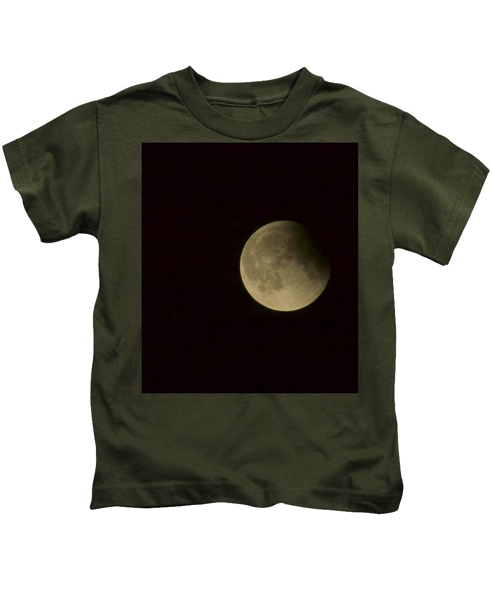 Blue Kids T-Shirt featuring the photograph Earth Shadow - Blue Moon by Tammy Hankins