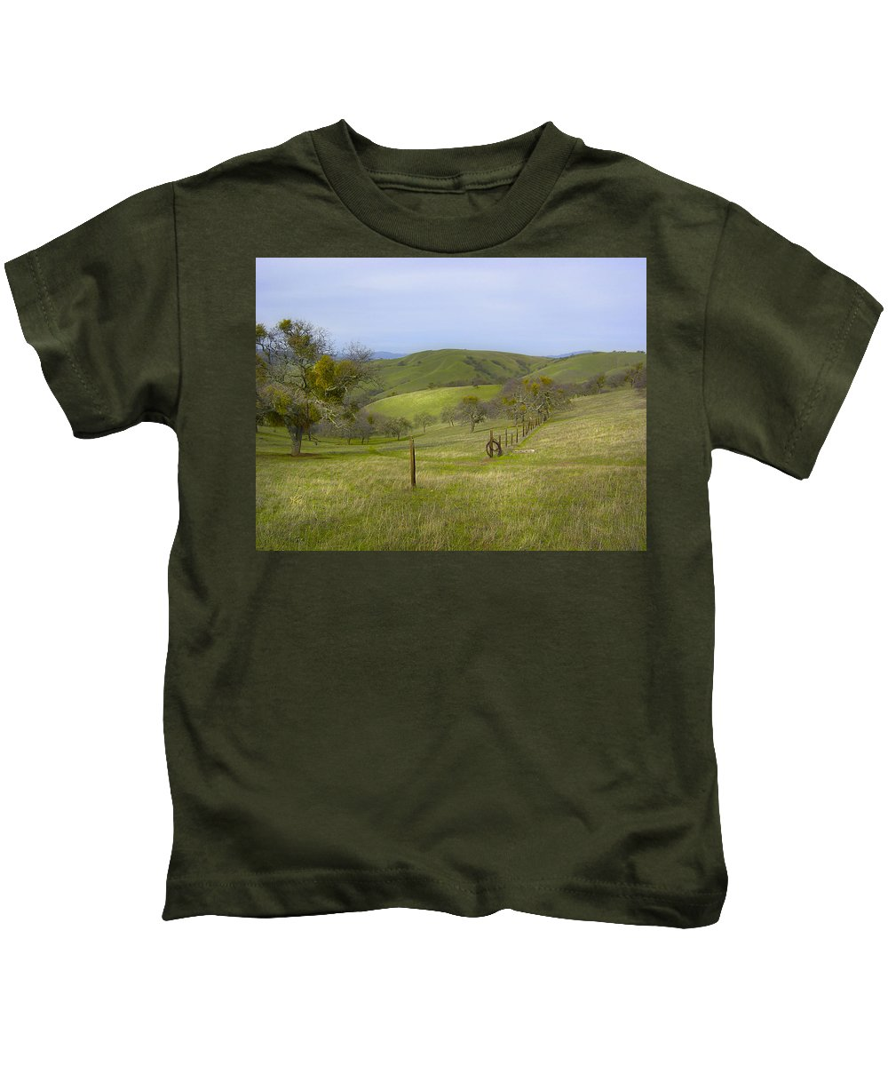Landscape Kids T-Shirt featuring the photograph East Ridge Trail Barbed Wire by Karen W Meyer