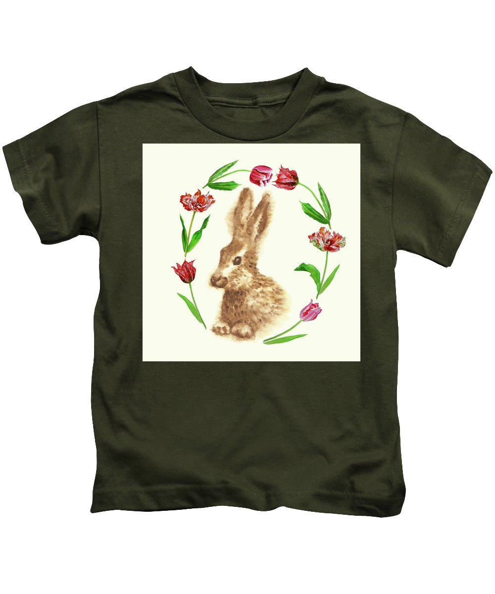 Easter Kids T-Shirt featuring the digital art Easter Background With Rabbit by Natalia Piacheva