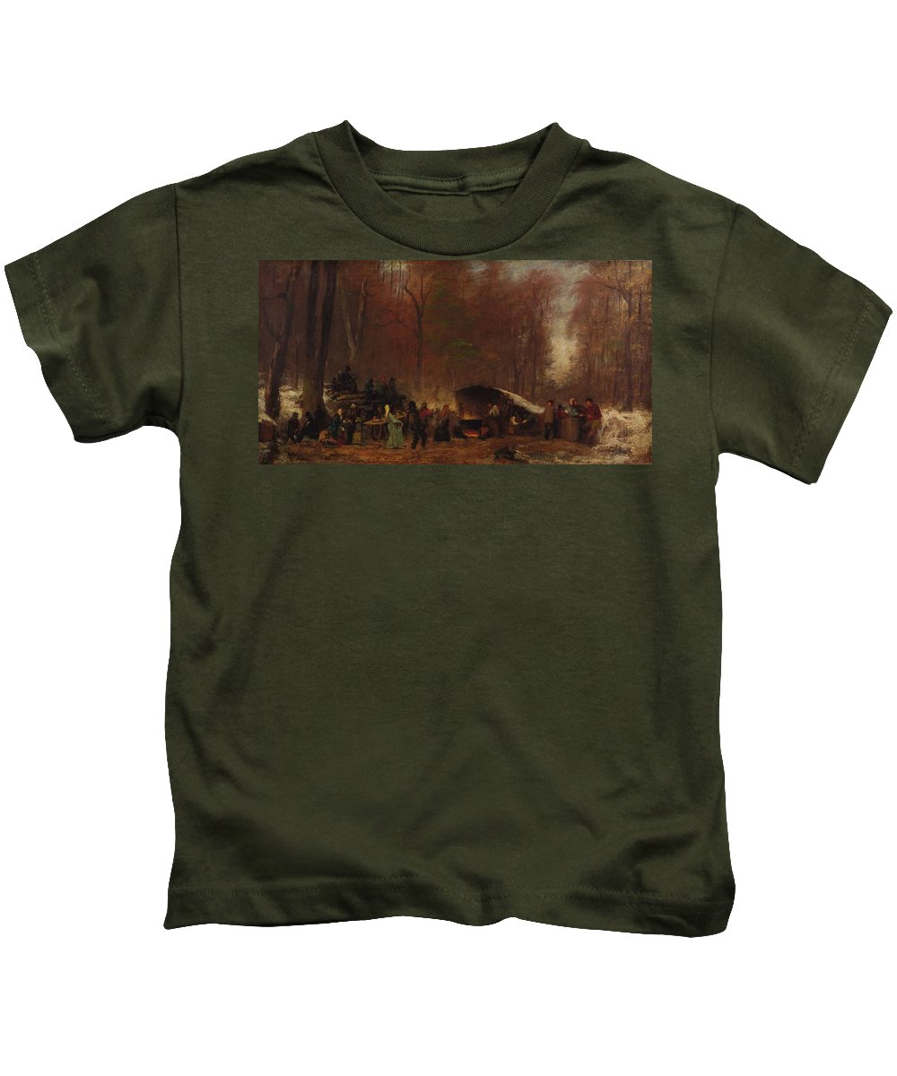 Nature Kids T-Shirt featuring the painting Eastman Johnson - A Different Sugaring Off by Eastman Johnson