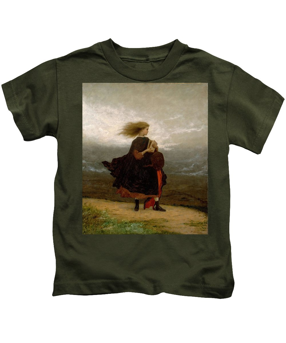 Girl Kids T-Shirt featuring the painting Eastman Johnson - The Girl I Left Behind Me by Eastman Johnson
