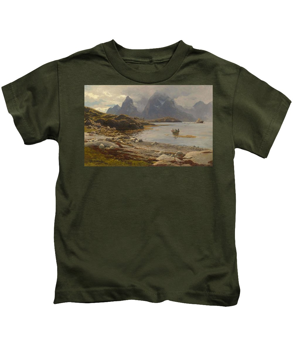 Nature Kids T-Shirt featuring the painting Eckenbrecher, Karl Paul Themistokles Von Athens 1842 - 1921 Goslar Norwegian Fjord by Karl Paul Themistokles Von