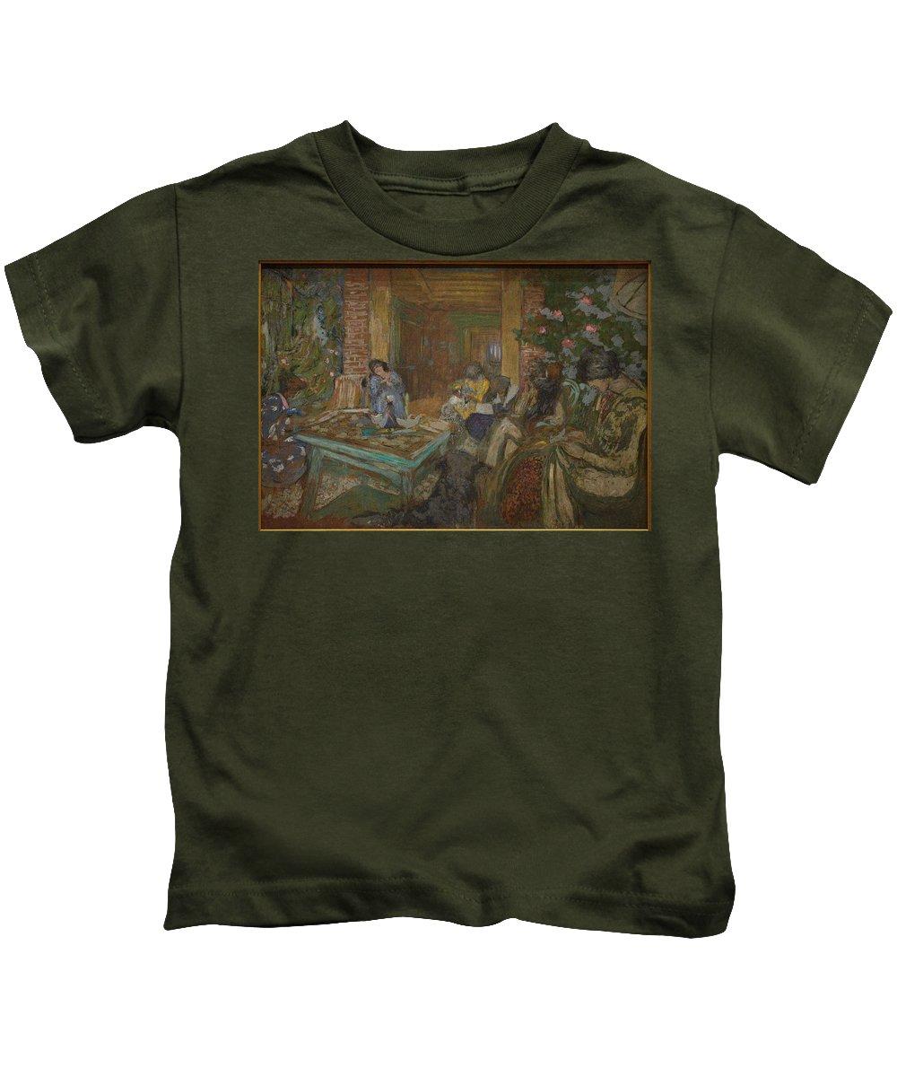 Nature Kids T-Shirt featuring the painting Edouard Vuillard Sewing Party At Loctudy by Edouard Vuillard