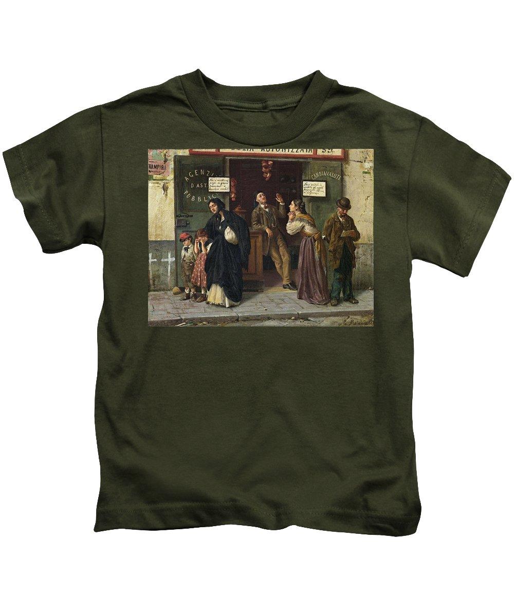 Man Kids T-Shirt featuring the painting Eduardo Matania, Beim Pfandleiher 1870s by Eduardo Matania
