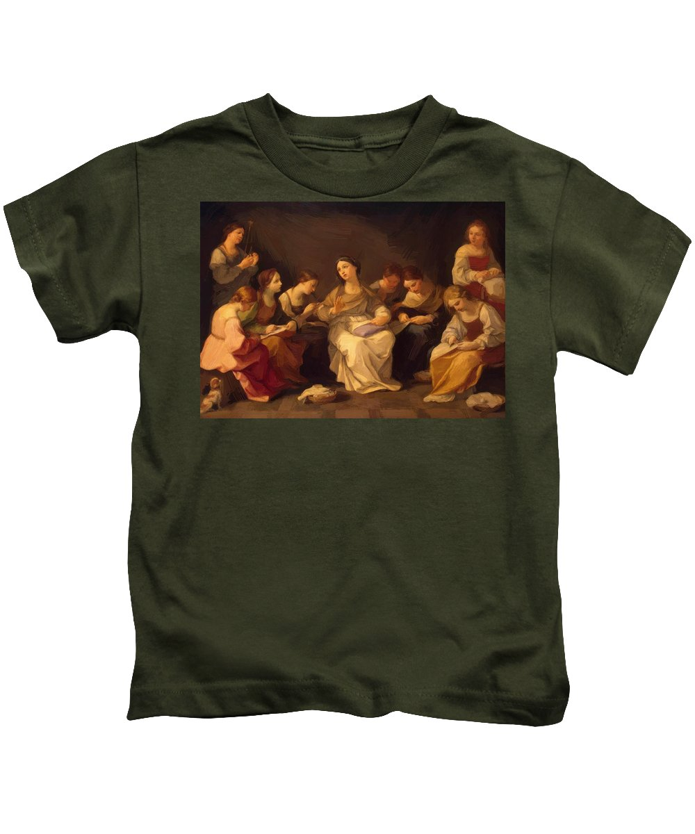 Education Kids T-Shirt featuring the painting Education Of The Virgin 1642 by Reni Guido