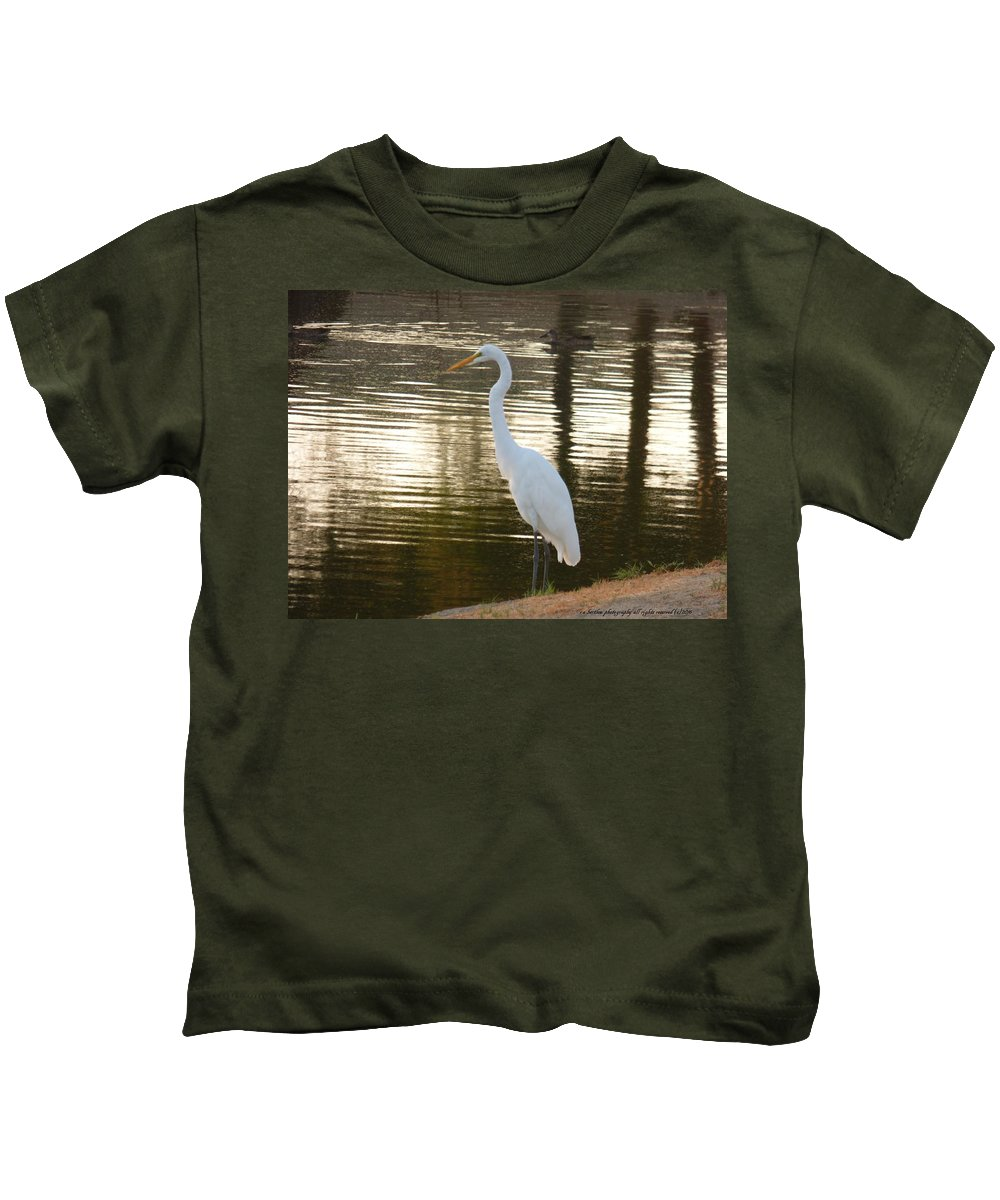 Egret Kids T-Shirt featuring the photograph Egret At Waters Edge by Russ Bertlow
