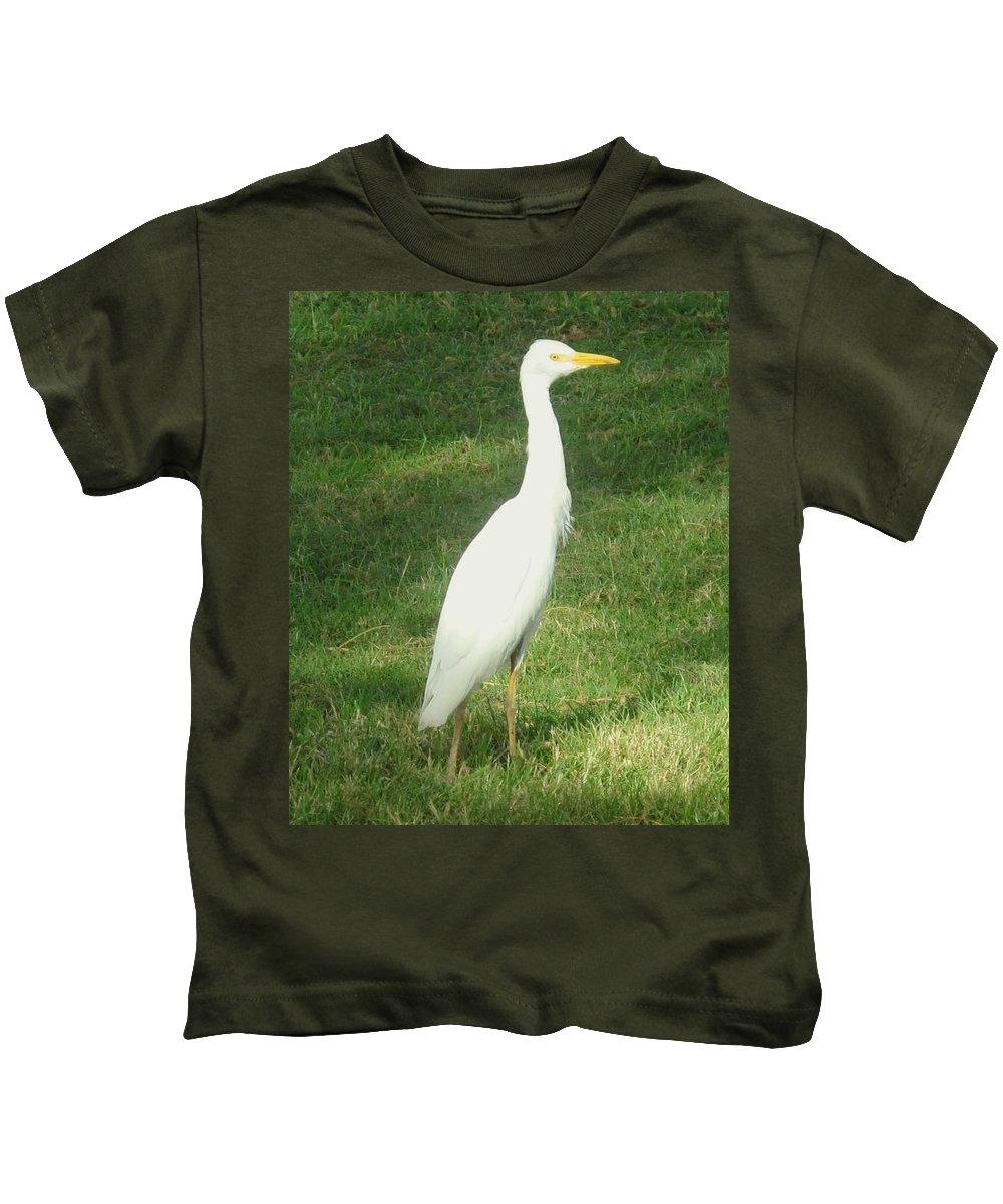 Egret Kids T-Shirt featuring the photograph Egret Posing by Ian MacDonald