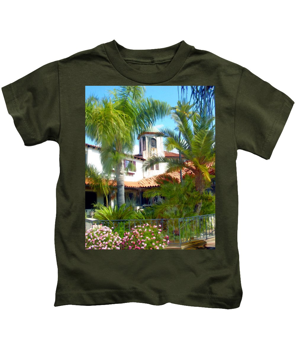 Santa Barbara Kids T-Shirt featuring the photograph El Presidio by Kurt Van Wagner