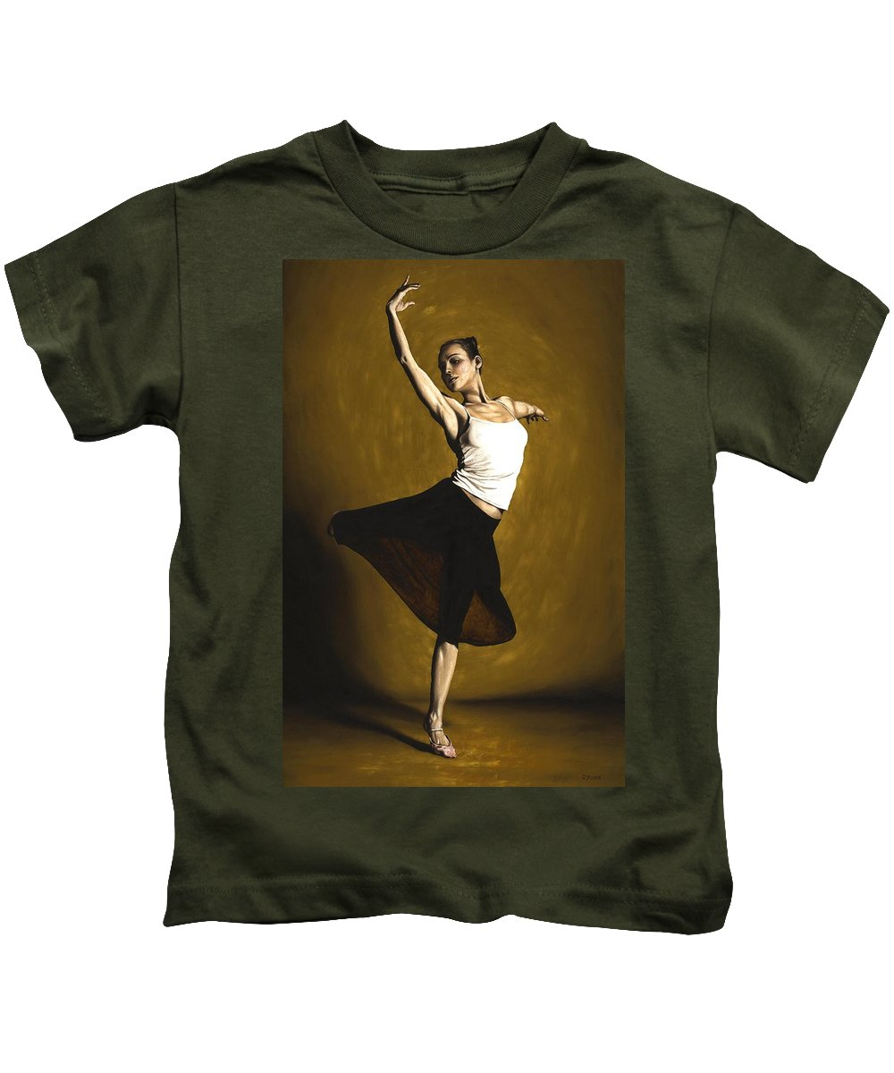 Elegant Kids T-Shirt featuring the painting Elegant Dancer by Richard Young